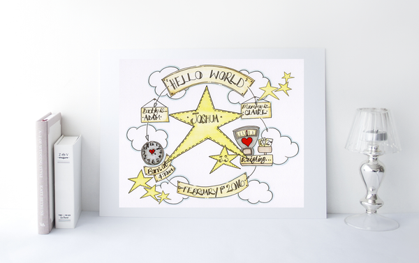 Yellow Stars Cloud Cycle Personalised Print