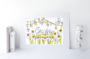 Daisies and Bunting Personalised Print