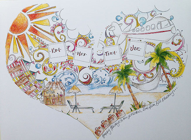 Personalised Family Holiday Heart Print