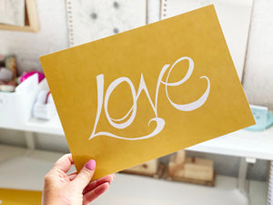 Hand Illustrated Love Print - White on Mustard