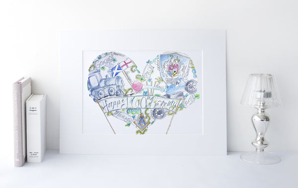 Dad 60th Birthday Personalised Heart Illustration