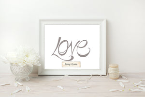 Hand Illustrated Love Print - Grey on White