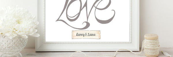 Handwritten Love Print - Grey on White