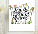 Load image into Gallery viewer, Love Grows Here Print - Black
