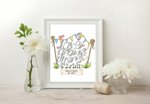 Love Grows Here Print - Grey