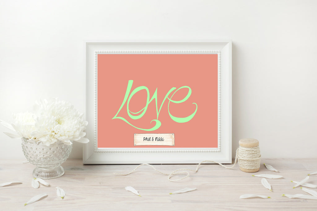 Handwritten Love Print - Mint on Coral
