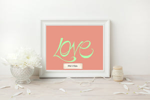 Hand Illustrated Love Print - Mint on Coral