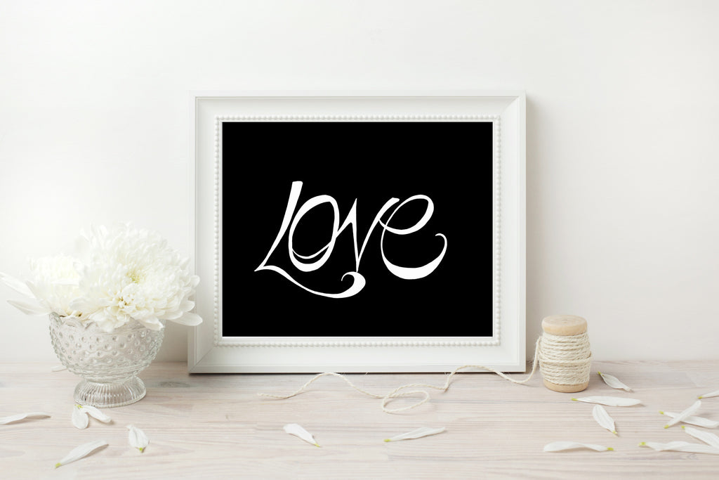 Handwritten Love Print - White on Black