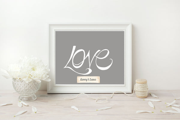 Handwritten Love Print - White on Grey