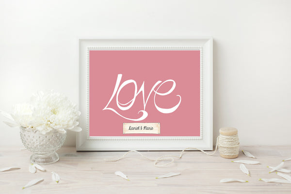 Handwritten Love Print - White on Pink