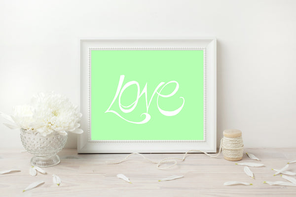 Handwritten Love Print - White on Mint