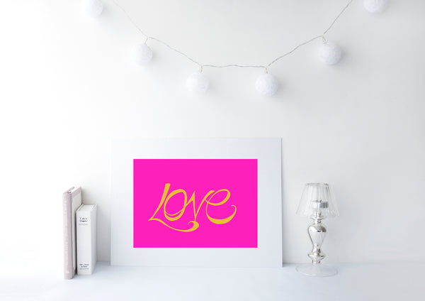 Handwritten Love Print - Mustard on Pink