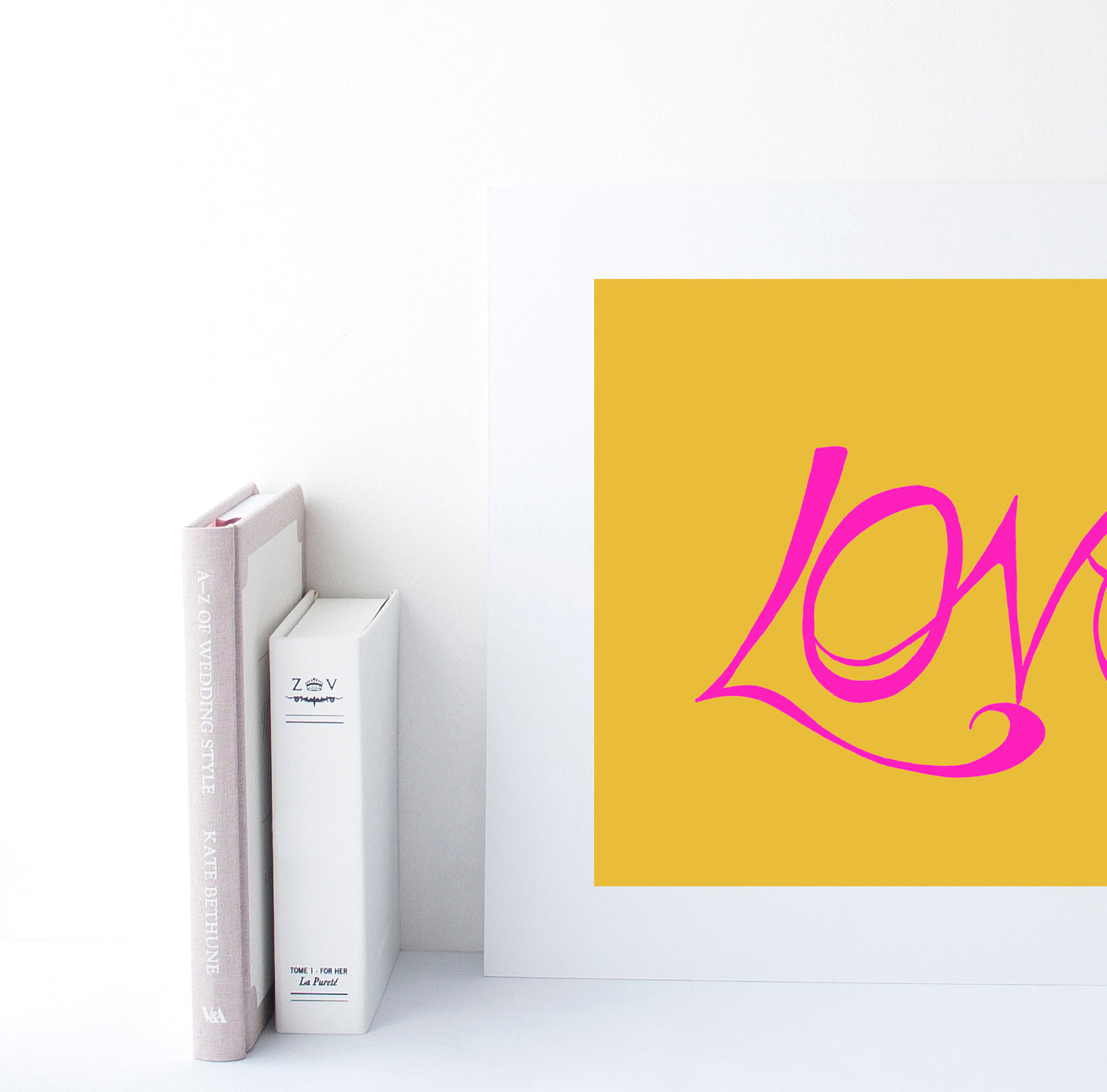 Hand Illustrated Love Print - Pink on Mustard