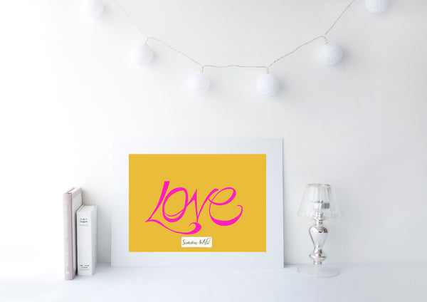 Handwritten Love Print - Pink on Mustard