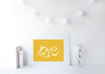 Load image into Gallery viewer, Hand Illustrated Love Print - White on Mustard