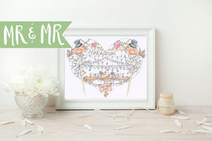 Mr and Mr Birds & Bunting Personalised Wedding Print