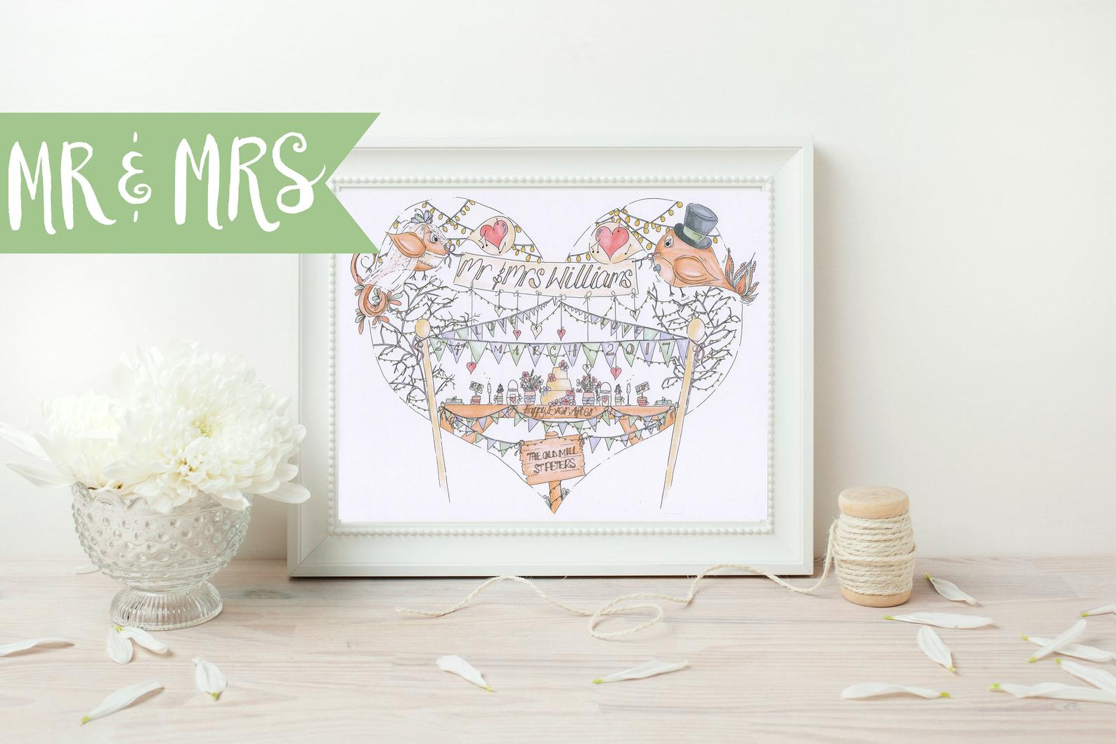 Mr & Mrs Birds and Bunting Personalised Wedding Print