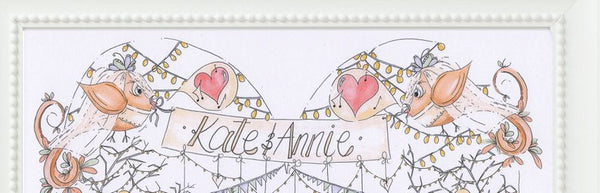Mrs and Mrs Birds and Bunting Personalised Wedding Print