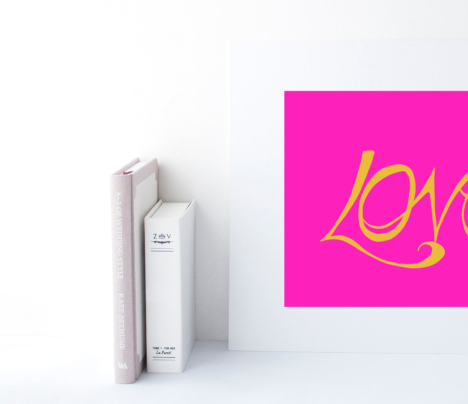 Hand Illustrated Love Print - Mustard on Pink