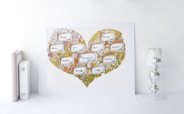 Personalised Family Doodle Heart Print