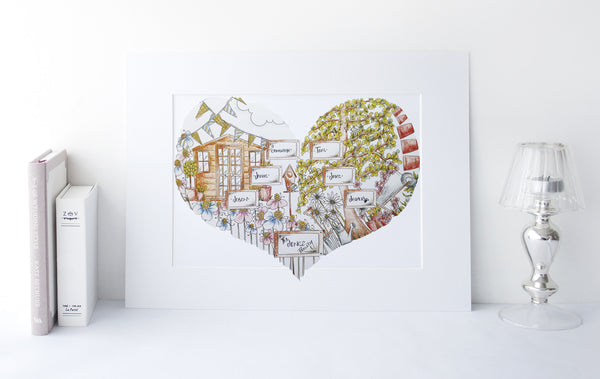 Personalised Family Garden Heart Print