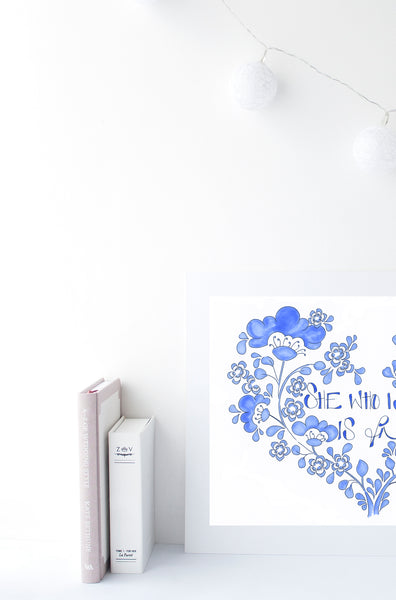 'She who is brave is free' Heart Print Blue