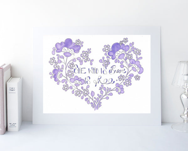 'She who is brave is free' Heart Print Purple