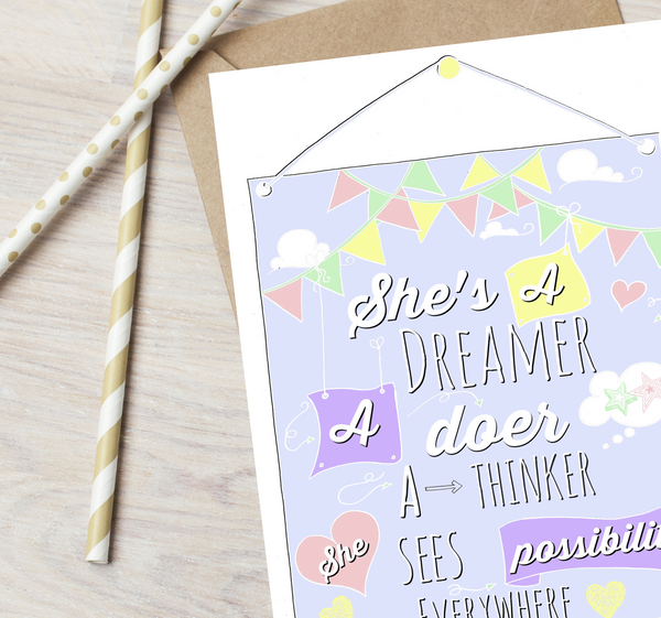 """Shes a dreamer a doer a thinker"" Greetings Card"