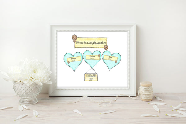 Triplets Blue Hearts Personalised Print