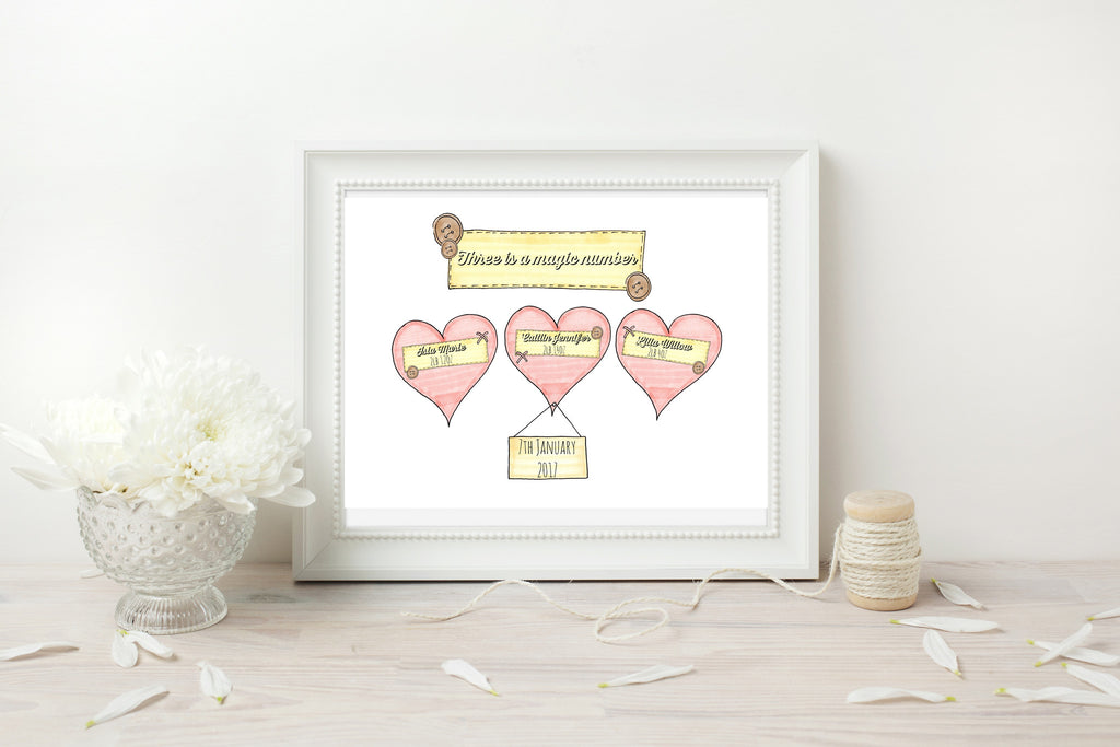 Triplets Pink Hearts Personalised Print