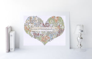 Vintage flowers Heart quote print
