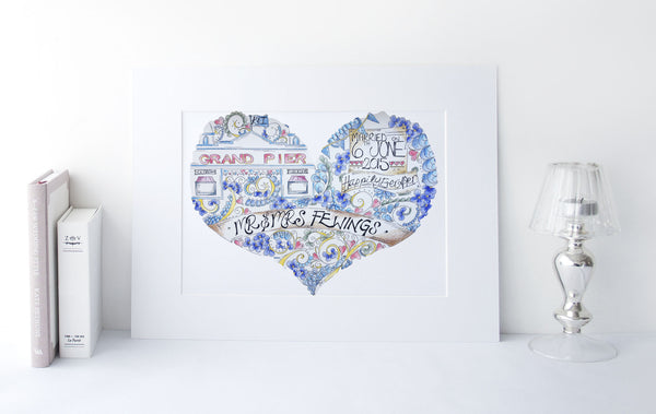 Grand Pier Personalised Bespoke Wedding Illustration