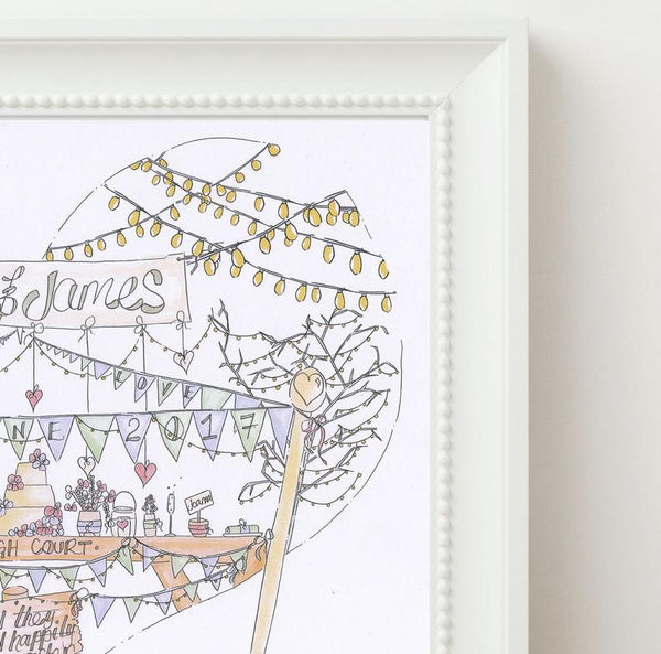 Bunting, wedding party, Fairy Lights Personalised Wedding Print
