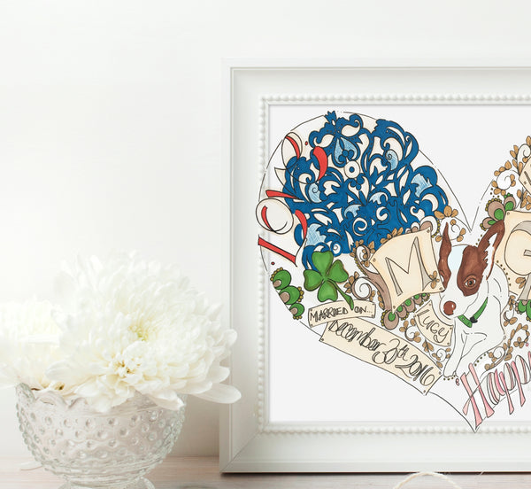 Brides gift to Groom original custom illustration