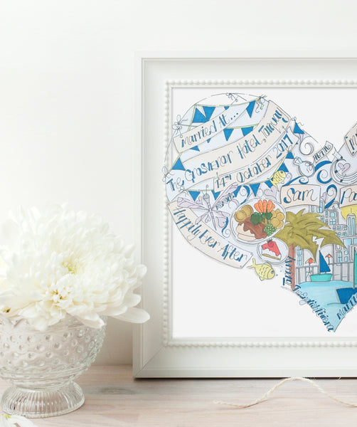 Personalised Bespoke Wedding Venue Illustration. Bride and grooms favourite things