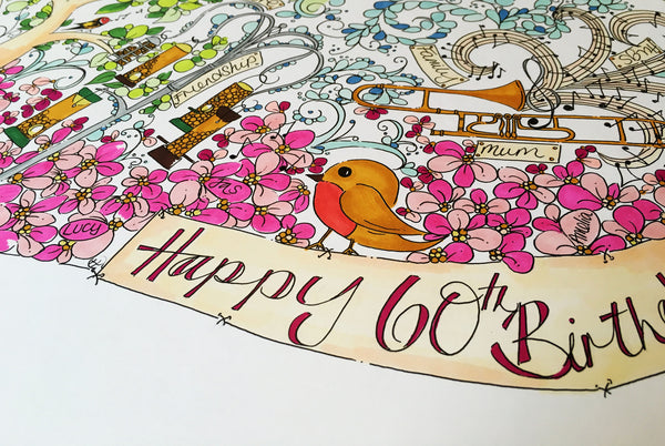 Mum 60th Birthday Custom Illustration