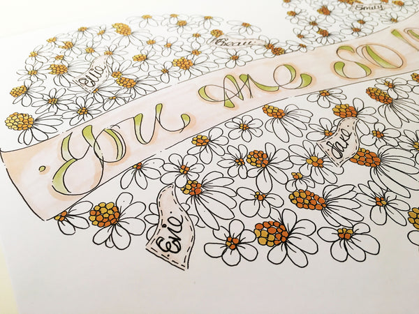 'You are so loved' Daisies Heart Print.