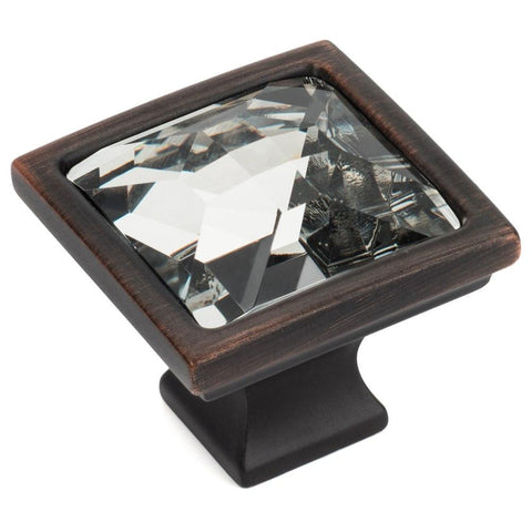 Square bronze cabinet knob with clear glass center