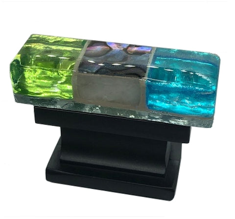 Rectangular glass cabinet knob with green blue and black glass