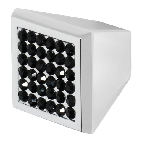 Square satin nickel cabinet knob with black crystals on the face