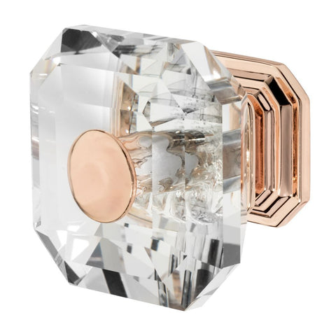 Square cabinet knob with clear glass and rose gold base