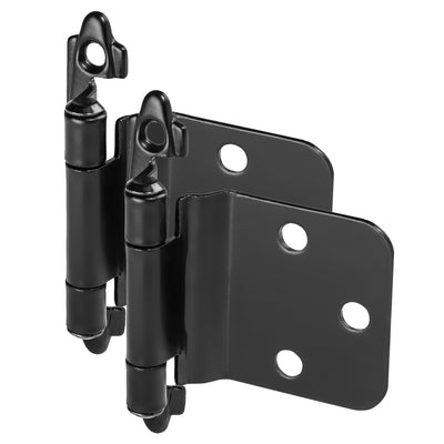 Cosmas 16890-FB Flat Black Hinge Variable Overlay with 30 Degree Reverse Bevel (Pair)