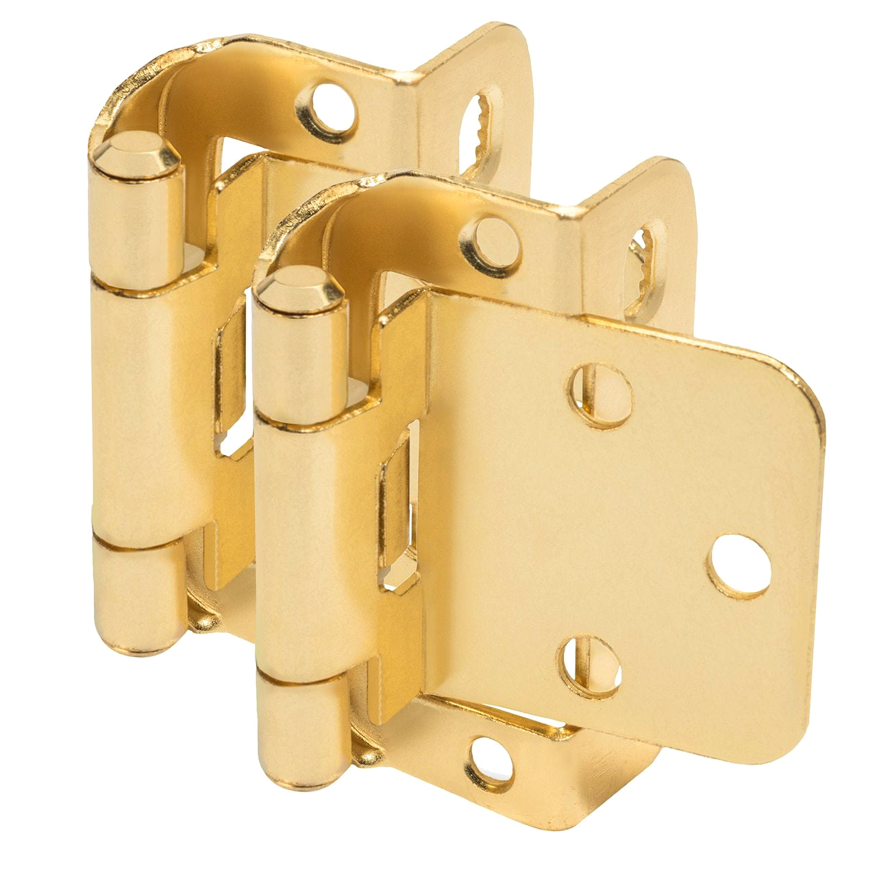 "Cosmas 18650-BB Brushed Brass Partial Wrap Hinge 1/2"" Overlay (Pair)"