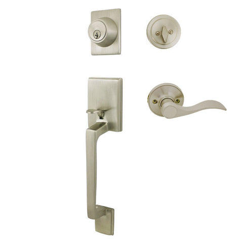 Cosmas 600 Series Satin Nickel Handleset with 80 Series Interior - Cosmas