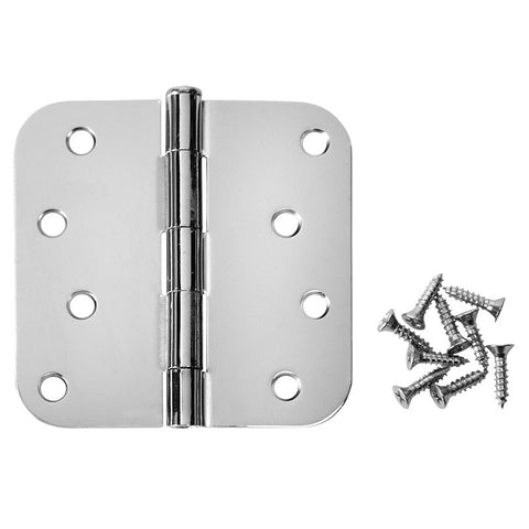 "Cosmas Polished Chrome Door Hinge 4"" with 5/8"" Radius Corners"