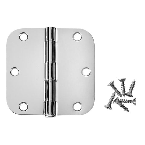 "Cosmas Polished Chrome Door Hinge 3 1/2"" with 5/8"" Radius Corners"