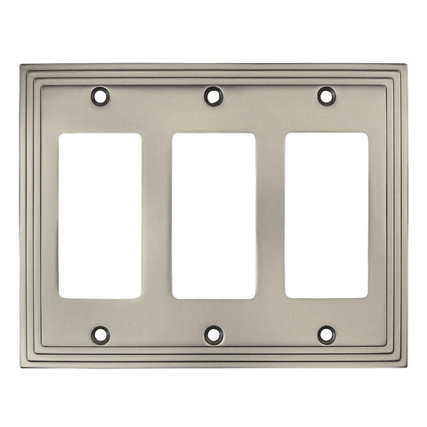 Cosmas 25084-SN Satin Nickel Triple GFCI / Decora Wall Plate