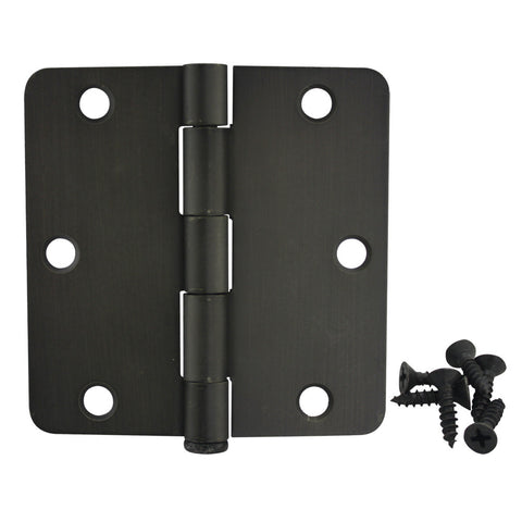 "Cosmas Oil Rubbed Bronze Door Hinge 3 1/2"" with 1/4"" Radius Corners"