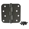 "Cosmas Oil Rubbed Bronze Door Hinge 4"" with 5/8"" Radius Corners"
