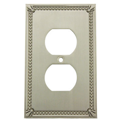 Cosmas 44018-SN Satin Nickel Single Duplex Outlet Wall Plate - Cosmas